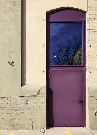High purple door.