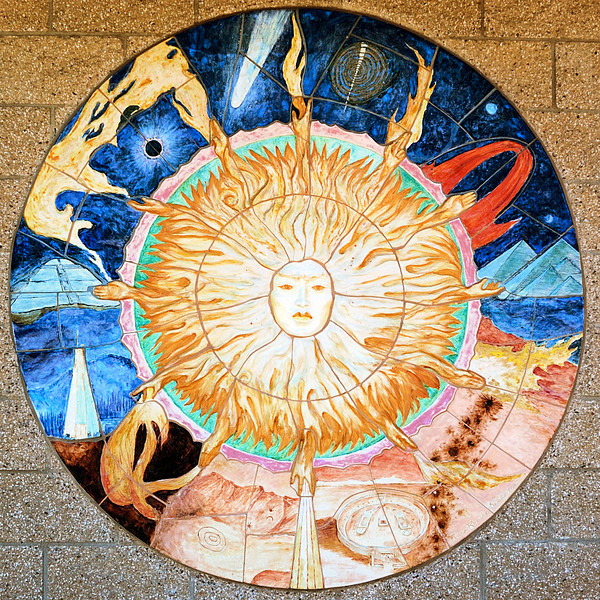 Art work on the National Solar Observatory's visitor center in New Mexico.
