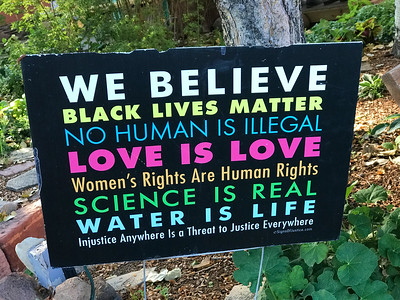 A yard sign beside the outdoor Boulder restaurant Mali picked out. Would it kill the woke to let the rest of us eat without puerile political platitudes?