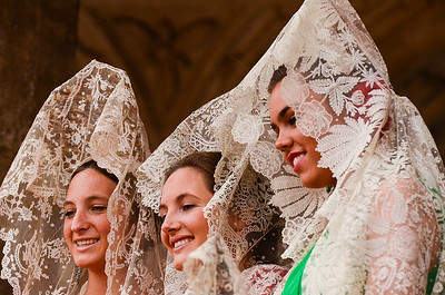 Girls at a bullfight, Sevilla, Spain