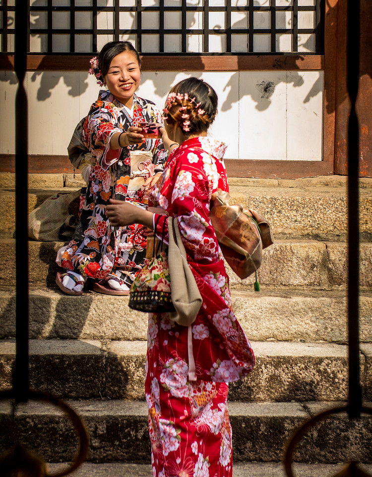 Girls taking each other's picture, Temple of Nara, Japan
