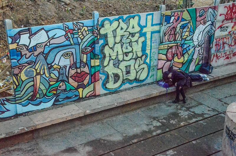 Two girls making out, Bellavista neighborhood, Santiago, Chile