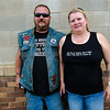 Motorcycle couple, Andover, South Dakota