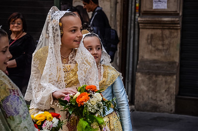 Girls in traditional dress, Valencia, Spain