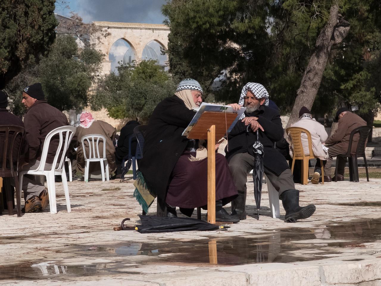 Men discussing the Koran, Temple Mount, Jerusalem
