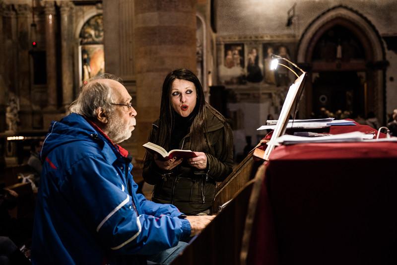 Singer rehearsing, Cathedral, Verona, Italy
