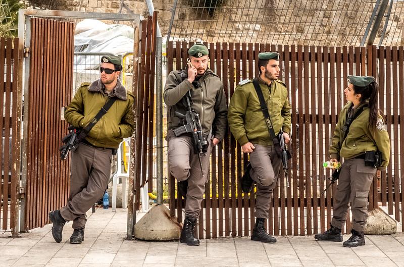 Soldiers, Western Wall, Jerusalem, Israel