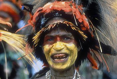 Participant in the annual Goroka Show tribal dance festival, Goroka, Papua New Guinea.