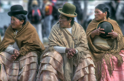 Women in traditional dress, Guachi, Bolivia.