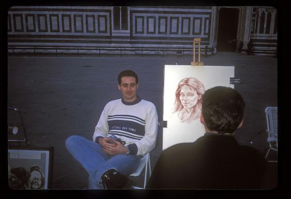 Portrait artist, Florence, Italy.