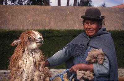A woman and her llama, Bolivia.