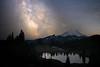 Rainier, Tipsoo - Milky Way and Rainier with Lower Tipsoo Lake