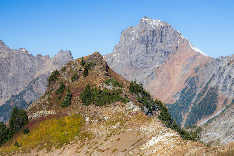 Whatcom, Yellow Aster Butte - Summit of Yellow Aster Butte with American Border Peak in background