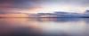 Edmonds, Marina Beach Park - Colorful sunset with calm water, panoramic