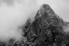 Snoqualmie Pass, Ski Area - Guye Peak in fog and clouds, black and white