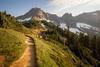 North Cascades, Cascade Pass - Trail below the pass with golden evening light