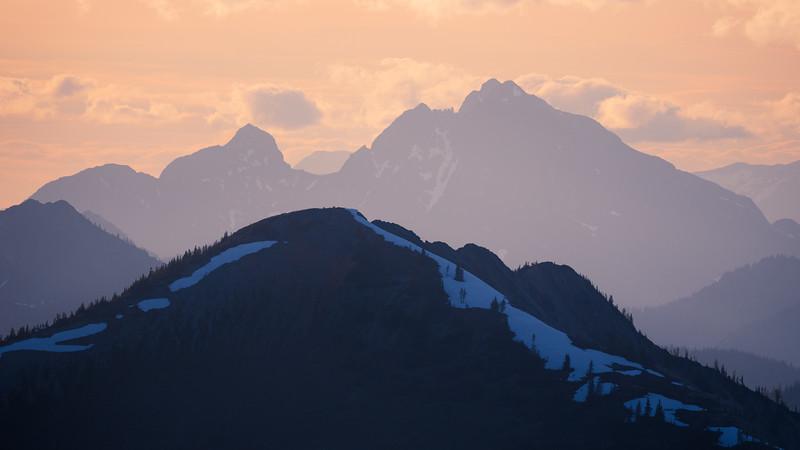 Harts Pass, Slate Peak - Dark hill and distant peak near sunset