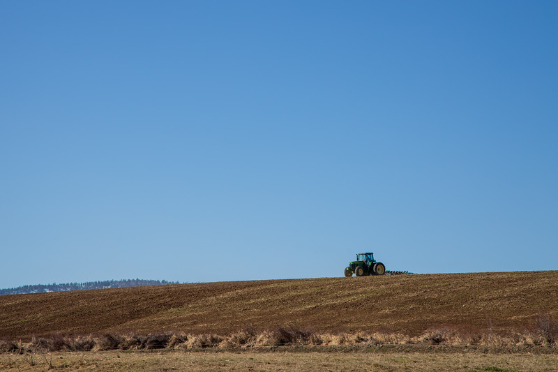 Kittitas, Thorp - Tractor plowing a field under a clear blue sky
