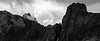 Rainy Pass, Cutthroat Pass - Black and white close up of Cutthroat Peak area with fog and clouds