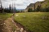 Pasayten, Horseshoe Basin - Hiker on trail walking by yellow tent