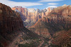 Zion, Canyon Overlook - View of West Temple and Altar of Sacrifice, some part of road