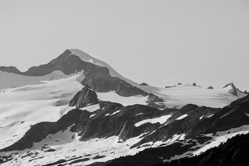 North Cascades, Cascade Pass - Mt. Torment as seen from the pass, black and white