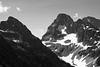 Rainy Pass, Easy Pass - Distant Fisher peak, black and white