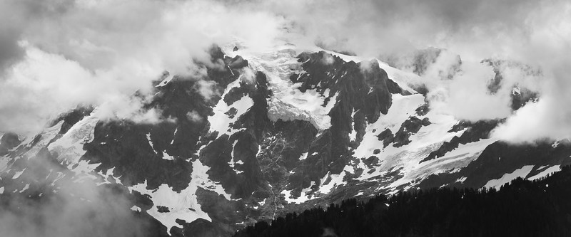 Whatcom, Excelsior - Glaciers on Mt. Baker seen through clouds, black and white