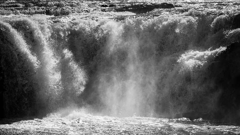 Western, Kootenai Falls - Falls on a hot day in black and white