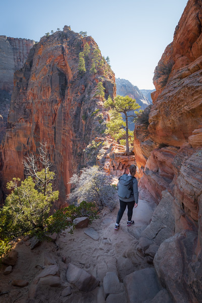 Zion, Angel's Landing - Woman walking into notch before summit
