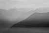 North Cascades, Thornton Lakes - Smoky haze looking across the Skagit River valley, black and white