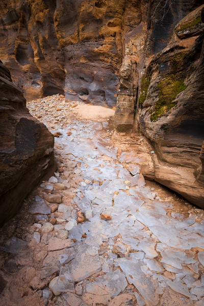Zion, Clear Creek - Large chunks of ice on bottom of wash