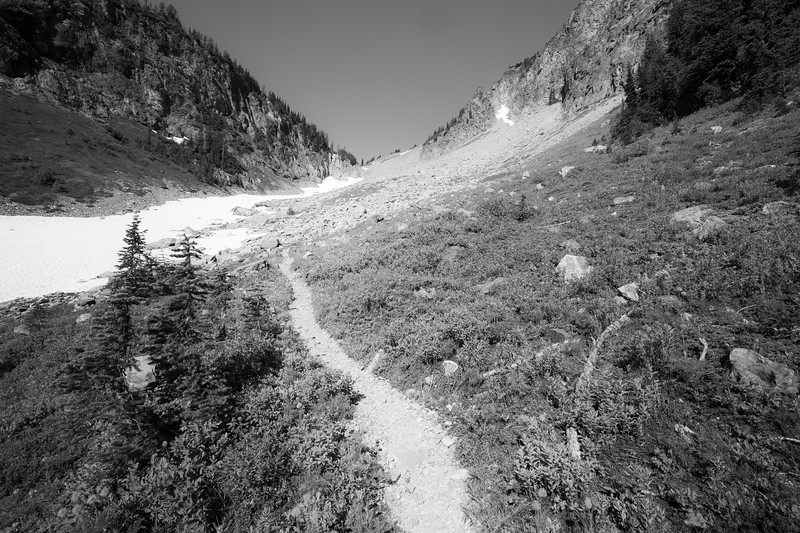 Rainy Pass, Easy Pass - Trail approaching rocky section, black and white