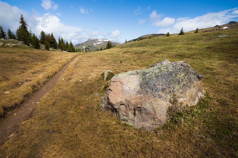 Pasayten, Horseshoe Basin - Large boulder at Sunny Pass with trail sign and Armstrong Mountain