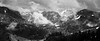 Whatcom, Excelsior - Distant peaks in the clouds, black and white