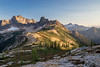 Rainy Pass, Cutthroat Pass - View of Cutthroat Pass at sunset with small tent visible