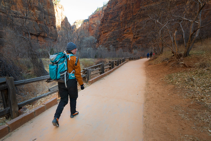 Zion, The Narrows - Hiker on Riverside Walk heading to the Narrows