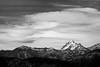 Kittitas, Blewett Pass - Mt. Stuart and lenticular clouds, black and white