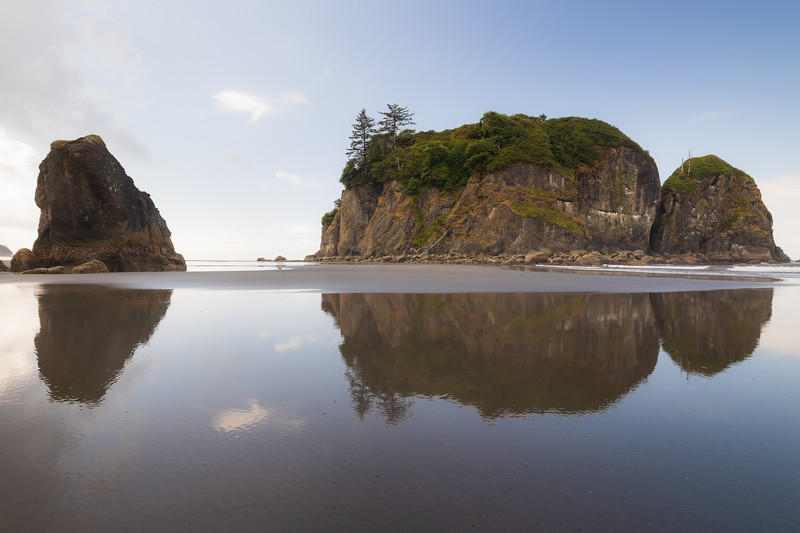 Kalaloch, Ruby Beach - Abbey Island and reflection in bright sun