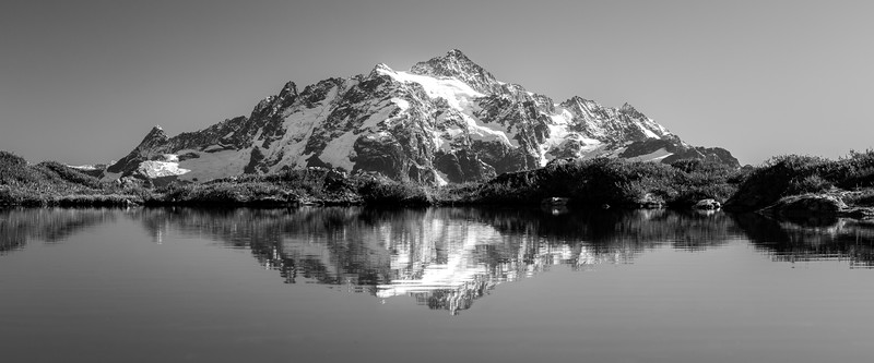 Whatcom, Yellow Aster Butte - Mt. Shuksan reflected in small tarn, panoramic, black and white
