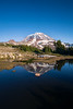 Rainier, Spray Park - Rainier reflected in large tarn with rock at summit