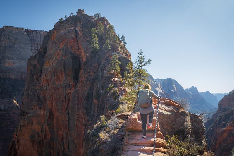 Zion, Angel's Landing - Woman climbing Step of Faith, 4