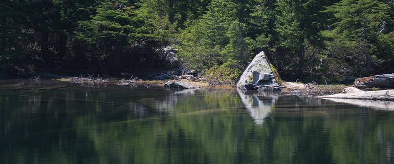 Stevens Pass, PCT South - Pyramid-shaped rock in Lake Susan Jane