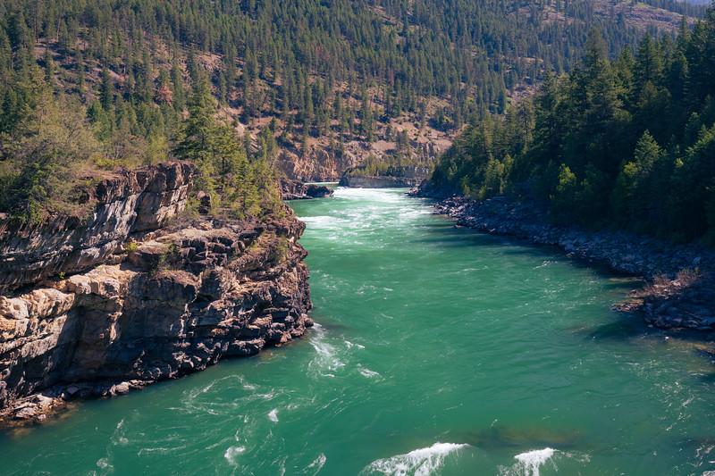 Western, Kootenai Falls - Kootenai River as seen from the suspension bridge