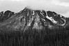 Pasayten, Horseshoe Basin - Windy Peak in the clouds, black and white