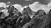 North Cascades, Thornton Lakes - Mt. Triumph and foreground peaks, black and white