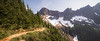 North Cascades, Cascade Pass - Trail approaching a shoulder with great view of mountains surrounding the pass