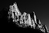 Zion, Town - Rock formations near the Watchman at sunset, black and white