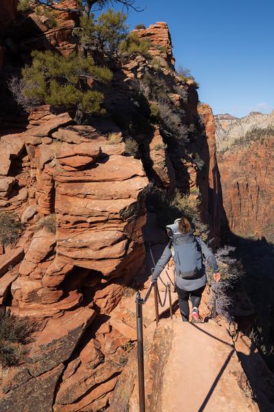 Zion, Angel's Landing - Woman descending Step of Faith