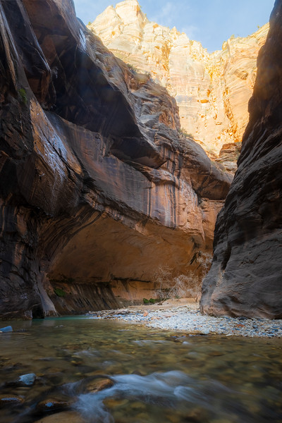 Zion, The Narrows - Large alcove beneath bright canyon walls